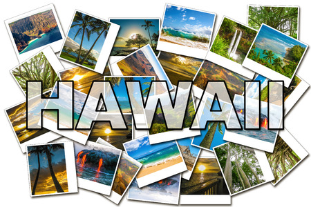 Hawaii pictures collage of different famous locations of the islands of Maui, the Big Island and Kawaii Hawaii, United States.