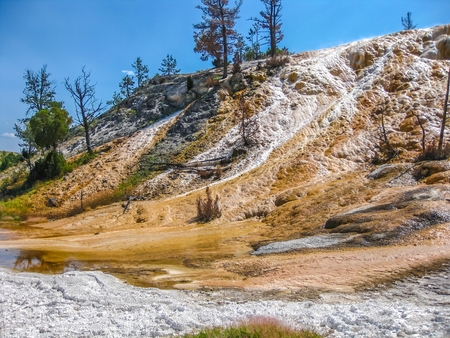 calcium carbonate: View of colorful travertine terraces rock formations made of crystallized calcium carbonate in Mammoth Hot Springs, Yellowstone National Park in Wyoming and Montana, United States.