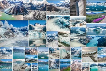 national parks: Glaciers picture collage of different famous National Parks of Alaska including Denali, Wrangell St. Elias, Kenai Fjords, Matanuska Glacier and Glacier Bay, United States.