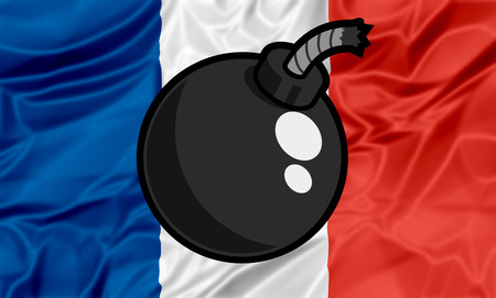Illustration about terrorist attack in France with war bomb symbol on flag of France.