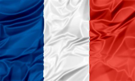 bandera francia: La bandera que agita nacional de Francia. , Fondo rojo blanco azul. Foto de archivo