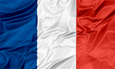 waving: The national waving flag of France. Blue, white red background.