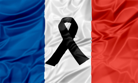 terrorist attack: Black ribbon on flag of France in memory of victims of terrorist attack. Stock Photo