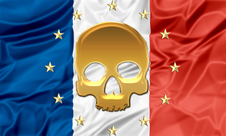 terrorist attack: Illustration about terrorist attack in France with death symbol and europe stars.
