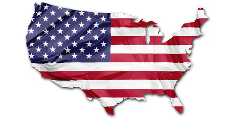The national US flag in map of United States isolated on white background. Фото со стока