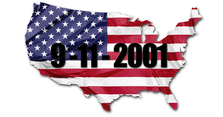 The US national flag in map of United States with the date of the Patriotic day, September 11, 2001, attack to the Twin Towers in New York.