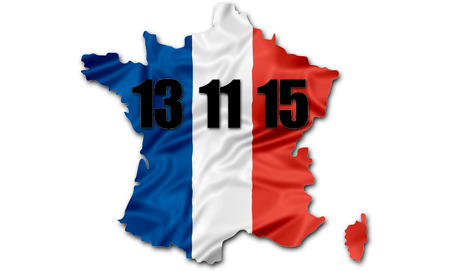 terrorist attack: The national french flag in map of France with date of the terrorist attack in Paris on November 13, 2015.