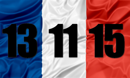 french flag: The national french flag with date of the terrorist attack in Paris on November 13, 2015. Stock Photo