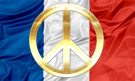 peace symbol: The national flag of France with golden peace symbol.