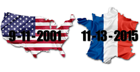 version: The national US Flag and Frech Flag on map of United States and France with dates of terrorist attacks of September 11 in New York and November 13 in Paris. American version.