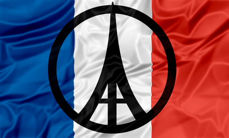 peace: The national flag of France with peace and Eiffel Tower symbols.
