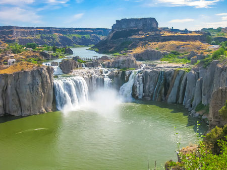 west river: Spectacular aerial view of Shoshone Falls or Niagara of the West, Snake River, Idaho, United States.