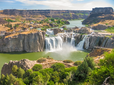 spectacular: Spectacular aerial view of Shoshone Falls or Niagara of the West, Snake River, Idaho, United States.