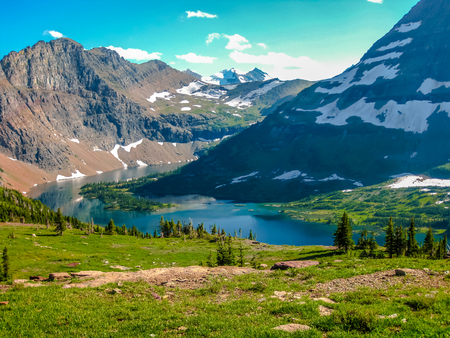 Glacier National Park: Spectacular aerial view of Hidden Lake Overlook in Glacier National Park, Montana, United States. Stock Photo