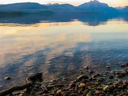Glacier National Park: Two Medicine Lake and Mount Sinopah on background at sunset, Glacier National Park, Montana, United States. Stock Photo