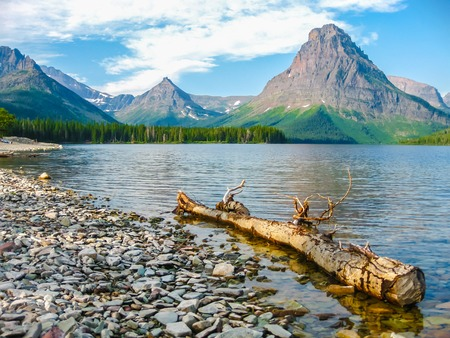 Glacier National Park: Two Medicine Lake and Mount Sinopah on background, Glacier National Park, Montana, United States.