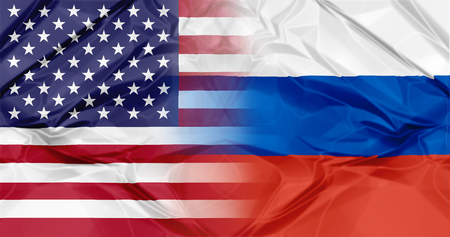 twinning: Russia flag and United States of America flag united in a composition about partnership and cooperation