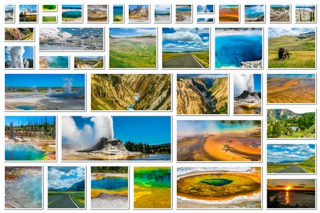 geysers: Yellowstone pictures collage of different locations landmark of hot spring with steam, geysers with eruptions and pools of thermophilic bacteria in Yellowstone National Park, Wyoming, United States.