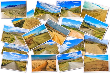 national parks: African gravel road pictures collage of different famous National Parks of Africa including Karoo, Camdeboo, Mountain Zebra in South Africa and Sandwich Harbour in Namibia, Africa,on white background. Stock Photo