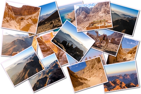 sinai: Egypt pictures collage of different famous locations landmark of Sinai Peninsula, Africa, isolated on white background. Stock Photo