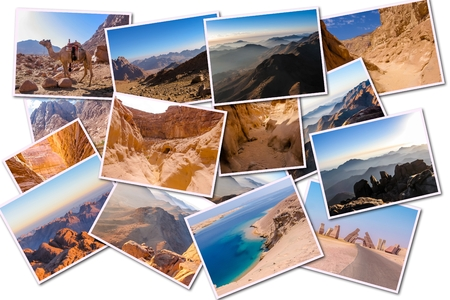 sharm el sheik: Egypt pictures collage of different famous locations landmark of Sinai Peninsula, Africa, isolated on white background. Stock Photo