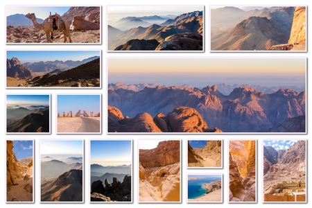 ten commandments: Egypt pictures collage of different famous locations landmark of Sinai Peninsula, Africa. Stock Photo