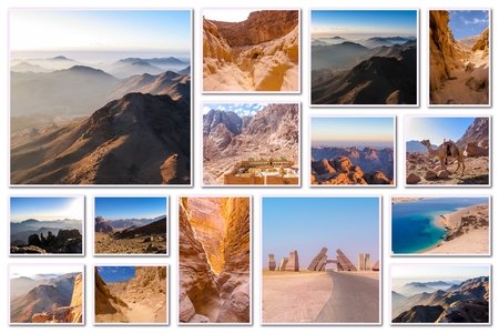 mohammed: Egypt pictures collage of different famous locations landmark of Sinai Peninsula, Africa. Stock Photo