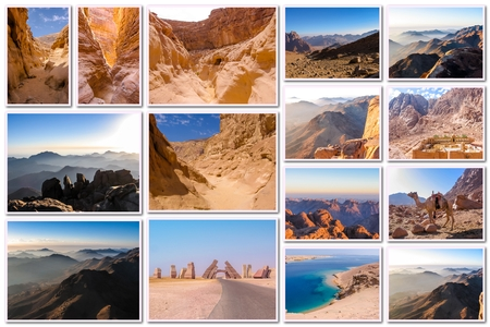 sinai: Egypt pictures collage of different famous locations landmark of Sinai Peninsula, Africa. Stock Photo