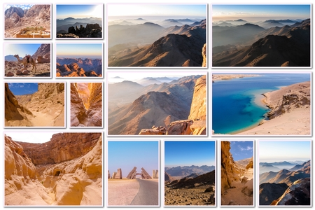 sharm el sheik: Egypt pictures collage of different famous locations landmark of Sinai Peninsula, Africa. Stock Photo