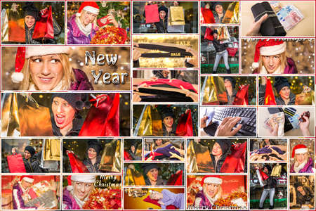 compras compulsivas: Pictures collage of expressions of women with colorful bags and Santa Claus hat making Christmas shopping during the sales, on red background. Foto de archivo