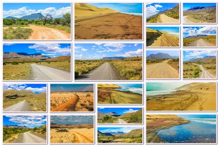 south africa soil: African gravel road pictures collage of different famous National Parks of Africa including Karoo, Camdeboo, Mountain Zebra in South Africa and Sandwich Harbour in Namibia, Africa. Stock Photo