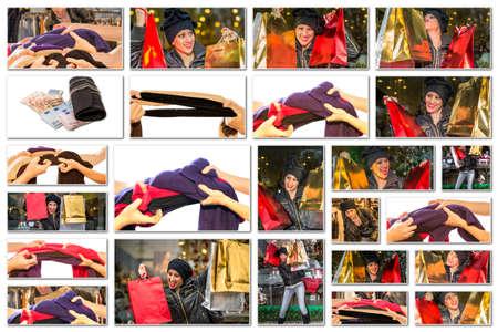 compras compulsivas: Collage de imágenes de mujeres con bolsas de colores que hacen compras de Navidad durante las ventas, sobre fondo blanco. Foto de archivo