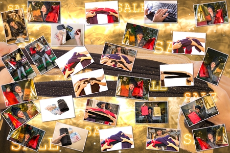 overspending: Pictures collage of women expressions with colorful bags making shopping during the sales, on golden Christmas background. Stock Photo