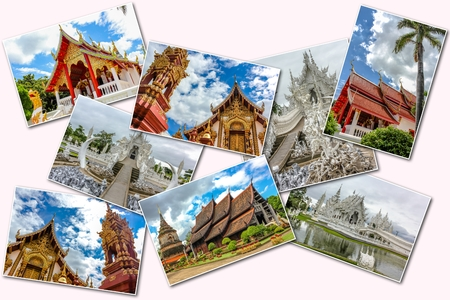 molee: The Buddhist temples collage of several famous locations landmarks of Buddhist temples in the old city of Chiang Mai, Northern Thailand, Asia. Isolated on white background.