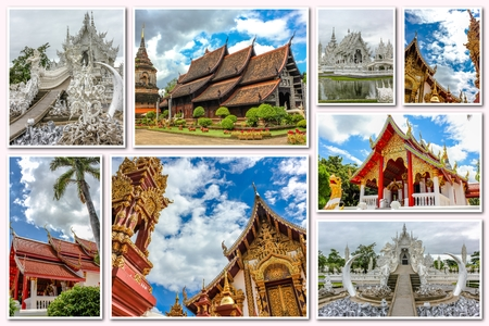 molee: The Buddhist temples collage of several famous locations landmarks of Buddhist temples in the old city of Chiang Mai, Northern Thailand, Asia.
