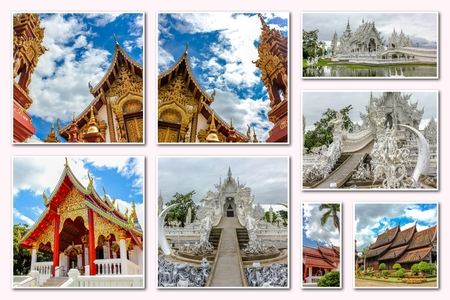molee: Buddhist temples collage of several famous locations landmarks of Buddhist temples in the old city of Chiang Mai, Northern Thailand, Asia.