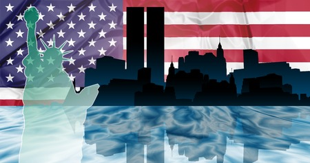 American patriotic illustration of New York with Manhattan skyline reflected in Hudson river and the Statue of Liberty on american flag background. Stock Photo