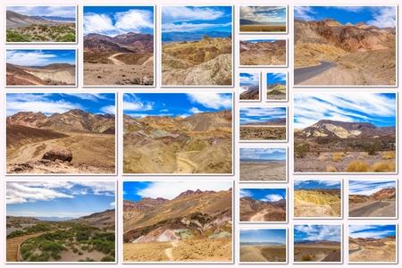 fallecimiento: Valle de la Muerte collage de varios sitios famosos de los lugares del Parque Nacional de Death Valley, Arizona, Estados Unidos.