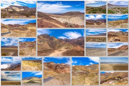 muerte: Valle de la Muerte collage de varios sitios famosos de los lugares del Parque Nacional de Death Valley, Arizona, Estados Unidos.