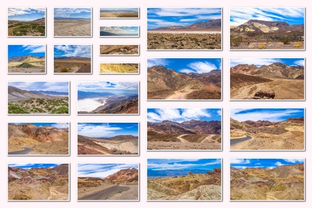 death valley: Death Valley collage of several famous landmarks locations of Death Valley National Park, Arizona, United States, isolated on white background.