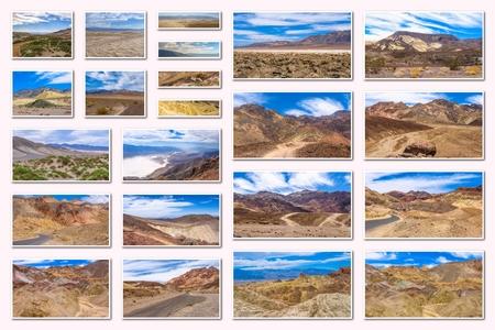 muerte: Valle de la Muerte collage de varios sitios famosos de los lugares del Parque Nacional de Death Valley, Arizona, Estados Unidos, aisladas sobre fondo blanco.