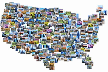 USA Map Pictures Collage Of Different Famous Locations Landmark - Us landmarks map