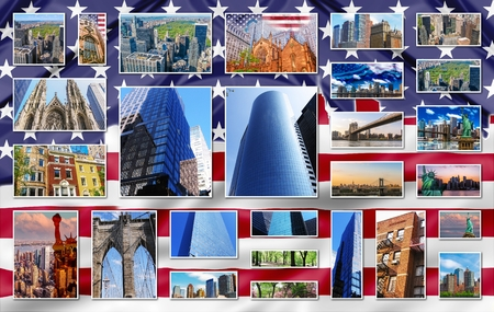 48657819 new york city pictures collage of different famous locations landmark of new york united states usa with american flag on background