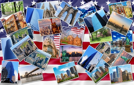 usa flags: New York city pictures collage of different famous locations landmark of New York, United States,, USA with American flag on background. Stock Photo