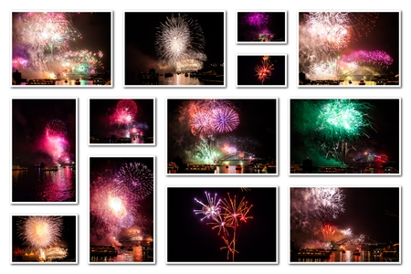 New year eve pictures collage of various colors bursting fireworks at midnight for the new year in Sydney bay, Australia. Isolated on white background. Stock Photo