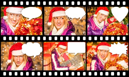 malice: Comincs sequence of six portraits of a beautiful woman with a Santa Claus hat, with different expressions of joy, surprise, malice, enthusiasm, during the Christmas shopping. copy space.