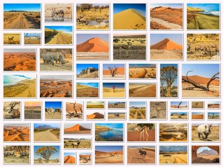 kalahari desert: Namibia pictures collage of different locations landmark of Namibia including Etosha, Namib-Naukluft, Sperrgebiet, Skeleton Coast, Sandwich Harbour, Kalahari Desert in Africa. Stock Photo