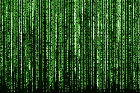 매트릭스 배경, 이진 문자가 빛나는 컴퓨터 코드로 큰 녹색 이진 코드입니다. 스톡 콘텐츠