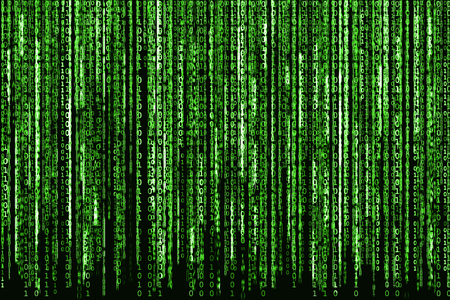 Big Green Binary code as matrix background, computer code with binary characters shining. Stock Photo - 50485752
