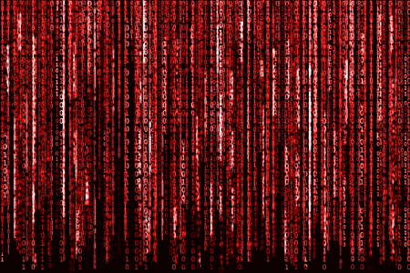 Big Red Binary code as matrix background, computer code with binary characters shining.